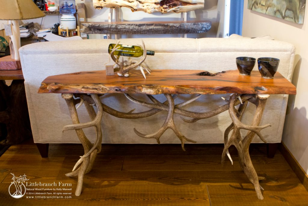 Rustic Sofa Table with Mesquite Wood and Elk and Mule Deer Antler Base | Littlebranch Farm