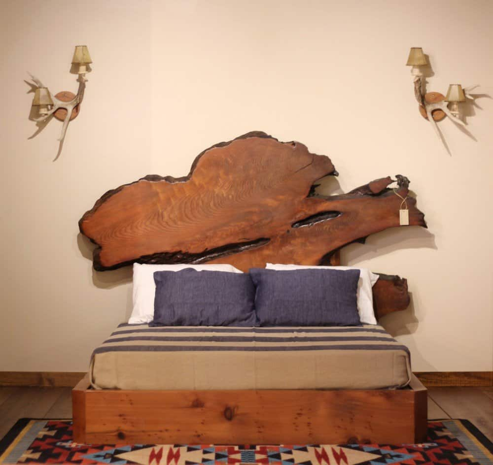 live edge wood slab rustic beds